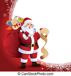 Vector Illustration of Santa Claus carrying sack full of...