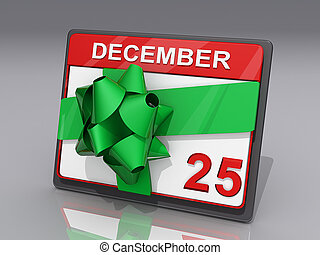 Christmas December 25 - A Calendar showing December 25 and a...