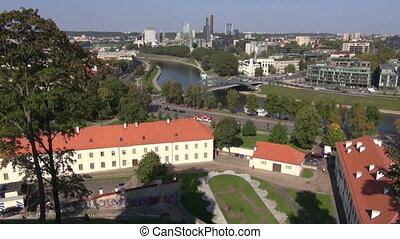 Lithuanian capital Vilnius panorama and Neris river