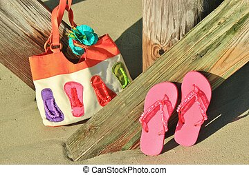 Flip flops and a beach bag - flip flops and a beach bag...