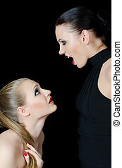 Two beautiful girls shout and swear - The two beautiful...