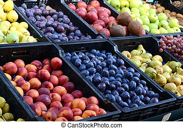 Fresh and organic fruits at farmers market