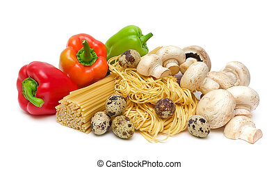 pepper, pasta, mushrooms, eggs on a white background