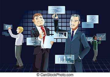 Businessmen and new technology - A vector illustration of...