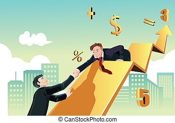 Businessman helping - A vector illustration of a business...