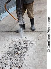 trabajador, camino, construcción, drillin