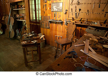 Ancient workshop of a luthier - Reconstruction of an ancient...