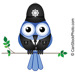 policeman sat on a branch - Comical bird policeman sat on a...