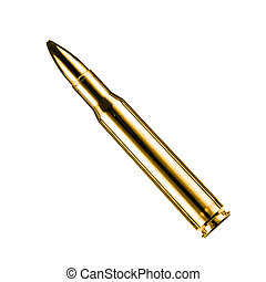 gold bullet on white background
