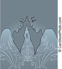 Kissing couple - Vector illustration of Kissing couple