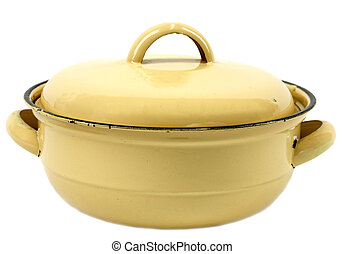 Retro pot - Yellow retro lidded pot isolated on white