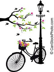 bicicleta, lámpara, flores, árbol