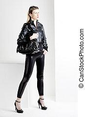 posición, Llevando, mujer, Moderno, negro, ropa