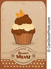 muffin with orange - Vintage dessert menu - a muffin with...