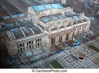 Milano Centrale railway station - Aerial view of Milano...