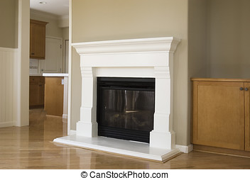 new fireplace - new construction, livingroom with hardwood...