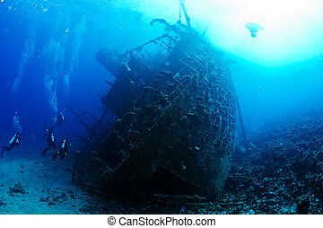 Wreck Gainnis D - Ship wreck Gainnis D and divers. Red Sea.