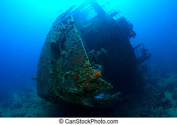 Ship wreck Chrisula K underwater view. Red Sea.
