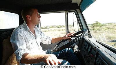 Camión, conductor, rueda, camión