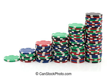Gambling Tokens - Stack of Casino Poker Chips Stairs
