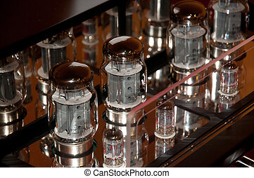 Tube amp (amplifier) - High end tube amplifier closeup.