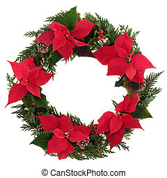 Christmas Poinsettia Wreath - Christmas wreath of poinsettia...