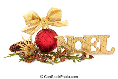 Noel - Christmas red bauble decoration with bow with a gold...