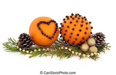Orange Pomander Fruit - Orange pomander fruit studded with...