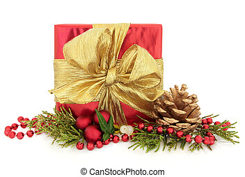 Christmas Present - Christmas present with red paper and...
