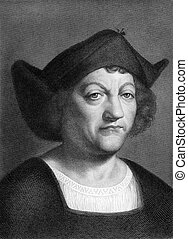 Christopher Columbus 1451-1506 on engraving from 1851...