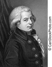 Wolfgang Amadeus Mozart (1756-1791) on engraving from 1857....