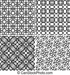 four vector seamless floral monochrome patterns