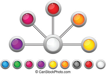 Connection Dots Colorful Circles - Vector - Connection Dots...