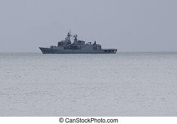 fragata, F-77, patrullar, Doutless, bahía, NZ
