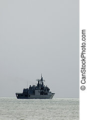 Frigate F-77 patrolling in Doutless Bay NZ - MANGONUI-SEP...