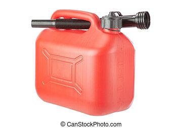 rojo, Diesel, bote, jerrycan, en, blanco, Plano de fondo