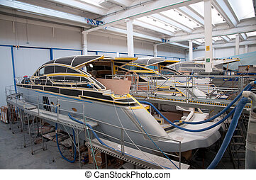 Italian shipyard - Interior of an Italian shipyard where...