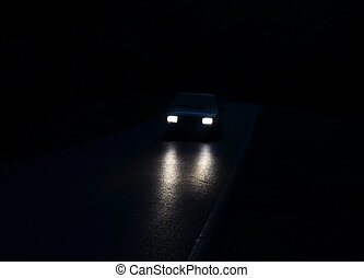 Car lights - Lights of the car in the dark