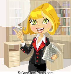 Cute business woman in office with speech bubble