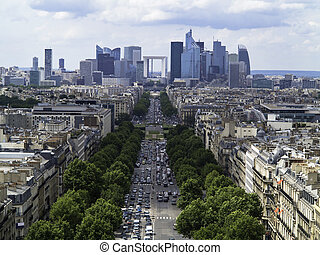 The Paris Business District and the Champs Elysees from the...