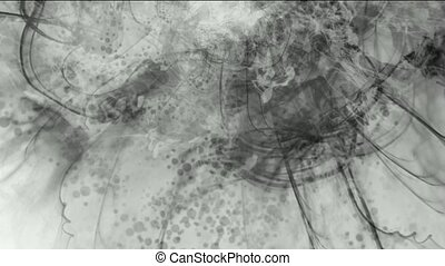splash ink spot & clouds,wire lines