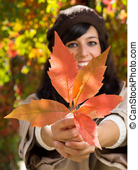 Autumn leaf in woman hands