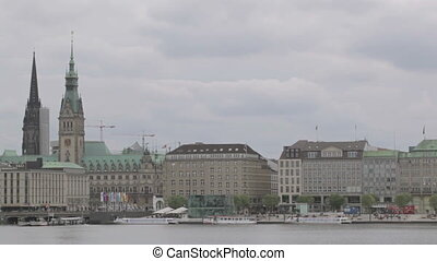 Hamburg view to the Town hall, Rathaus with copyspace for...