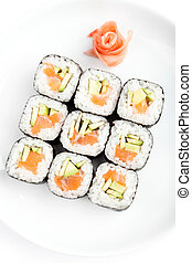 Square of sushi rolls with sashimi - Sushi rolls with...