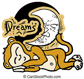 Dreams drawing monkey - Creative design of dream drawing...