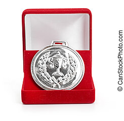 silver medal in red gift box