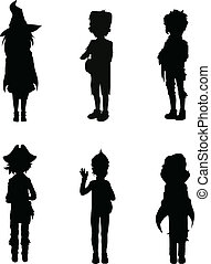 Silhouettes of kids in halloween suits