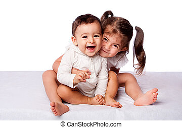 Happy brother and sister - Cute lovely toddler sister...