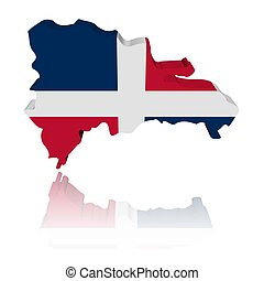 Dominican Republic map flag with reflection illustration