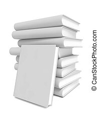 Stack of Blank Books on White Background.